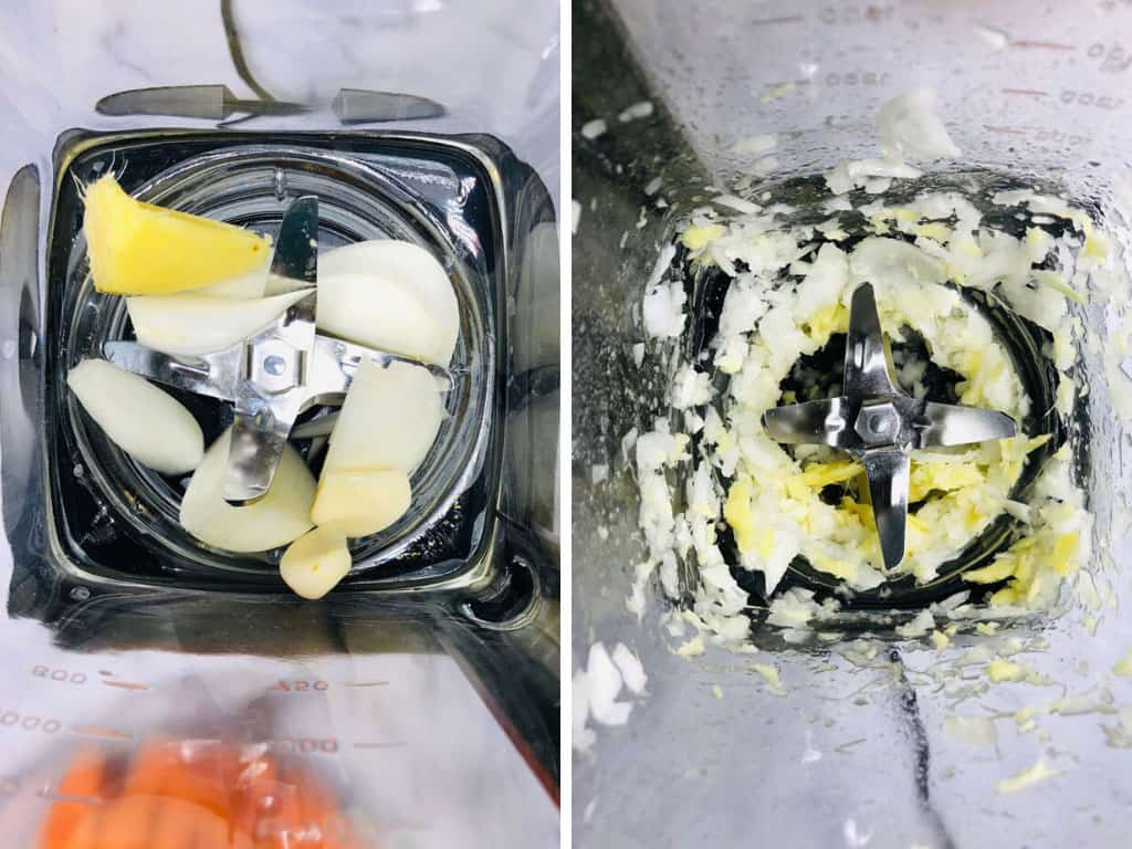 chopping up onions, garlic and ginger in Ninja Blender