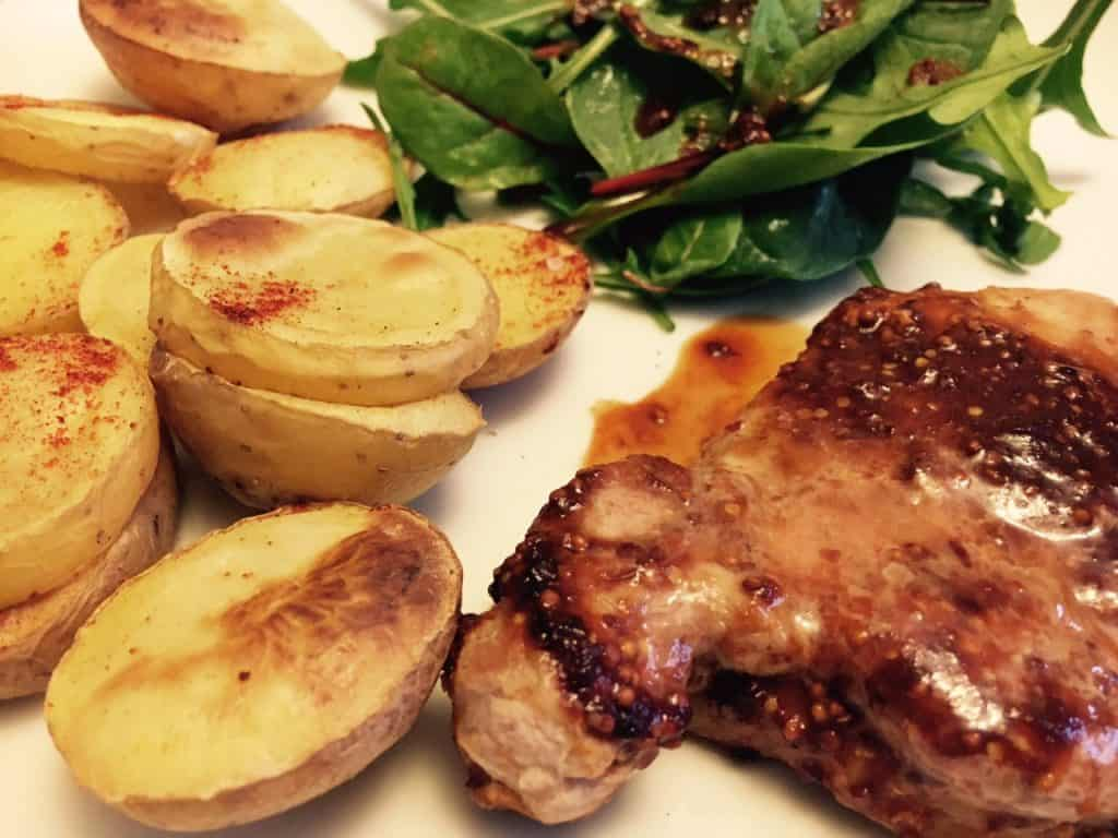 Barbecue Pork Steaks with Mixed Salad