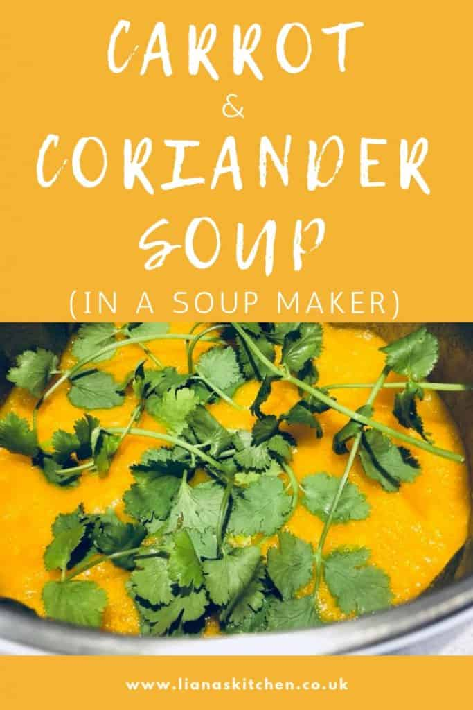 carrot and coriander soup in a soup maker