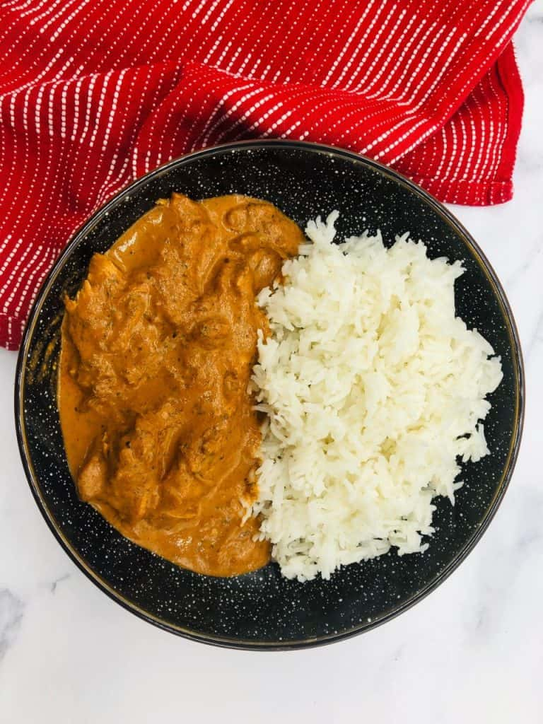 Chicken Tikka Masala Finished In A Bowl With Rice