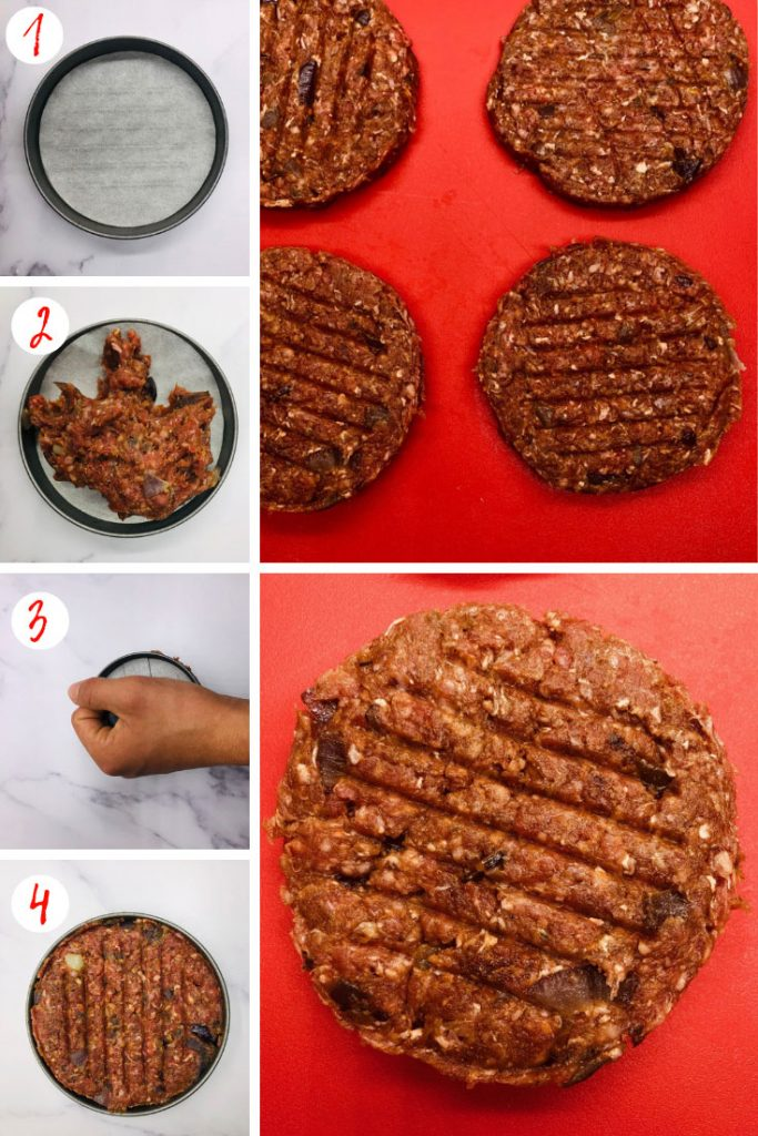 steps to making a burger in a burger press