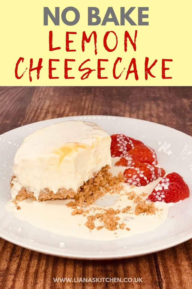 serving of no bake lemon cheesecake on a plate with strawberries