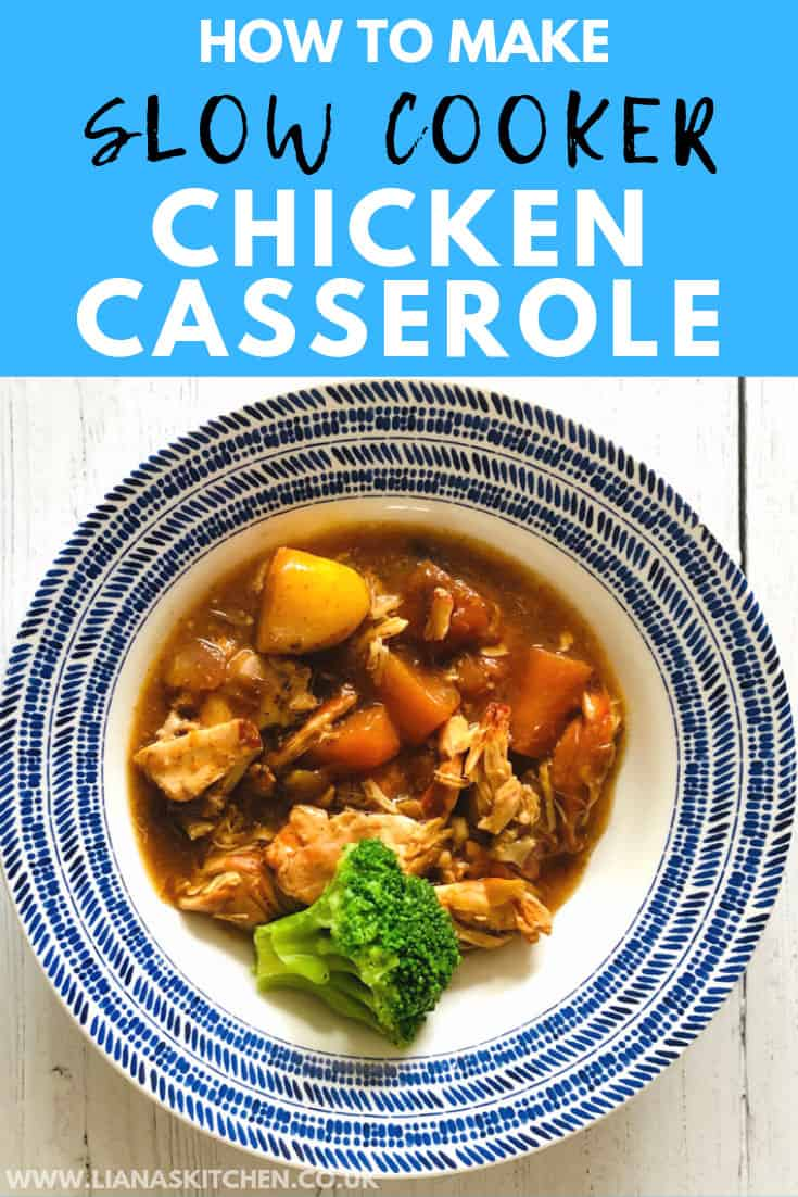 chicken casserole served in a blue bowl