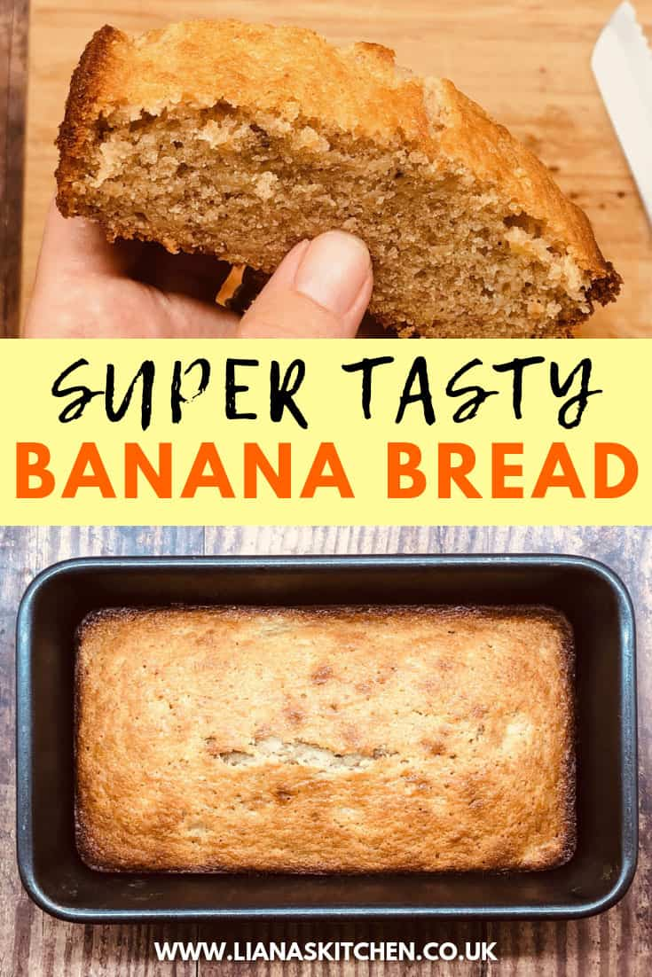 banana bread in tin from oven and sliced