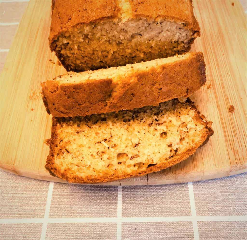 recipes banana bread sliced on chopping board
