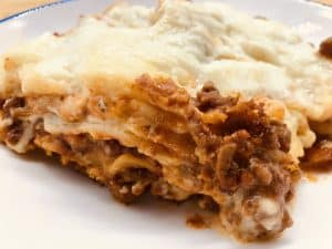 slow cooker lasagna served on a plate