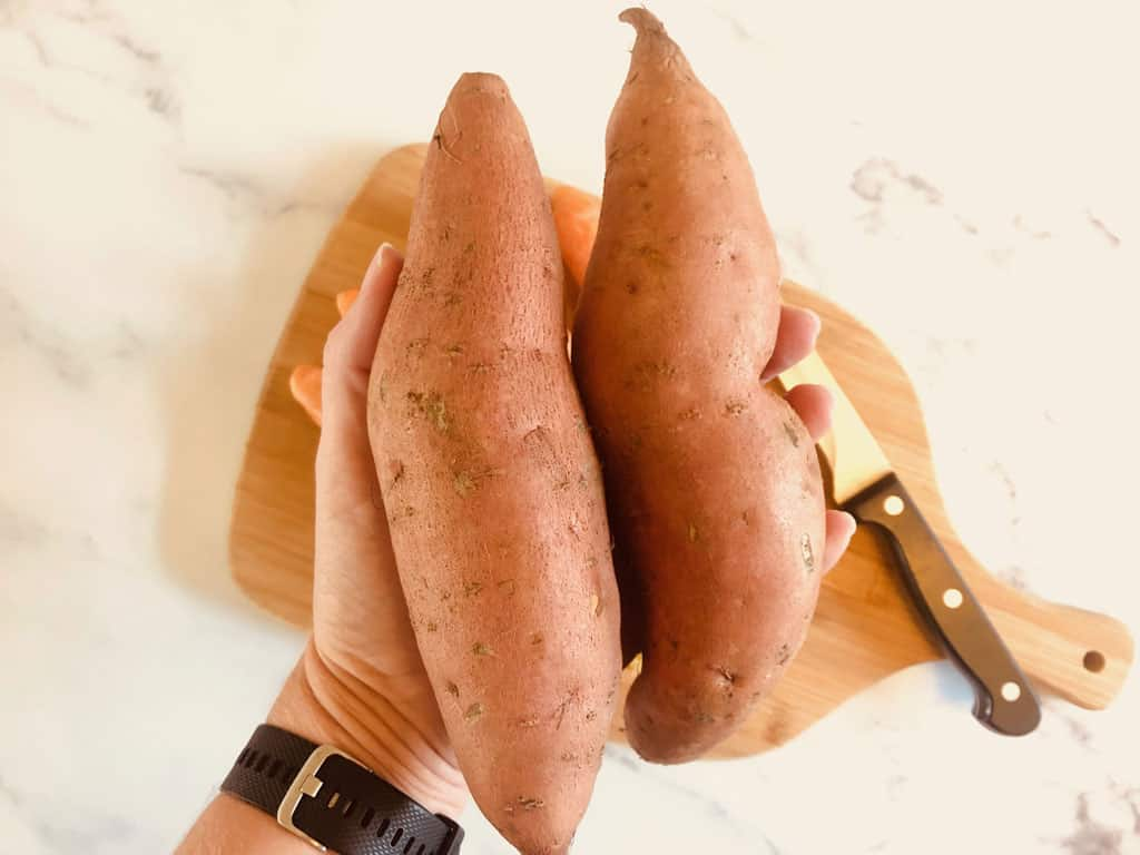 2 sweet potatoes before cutting for soup