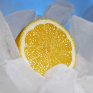 lemon in ice cubes