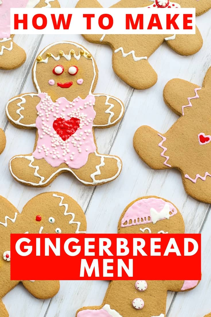 how to make gingerbread men with decorated gingerbread men on worktop