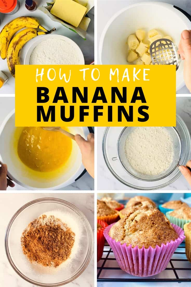 step by step process for making banana muffins