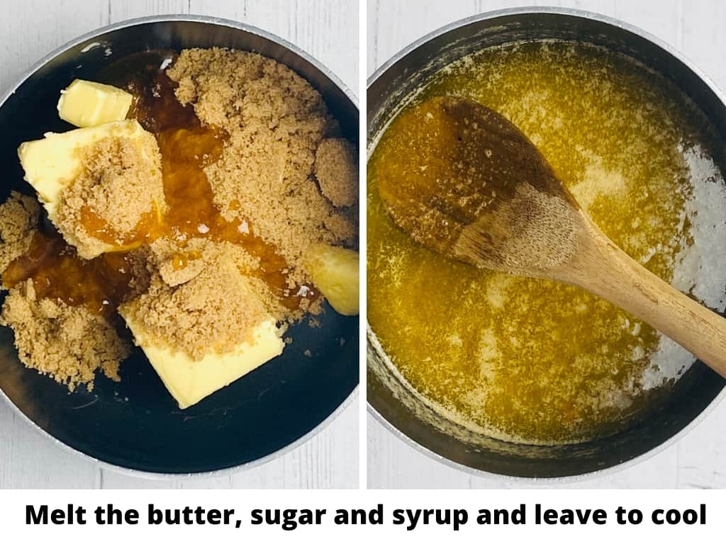 melting the butter sugar and golden syrup in a saucepan for making gingerbread men