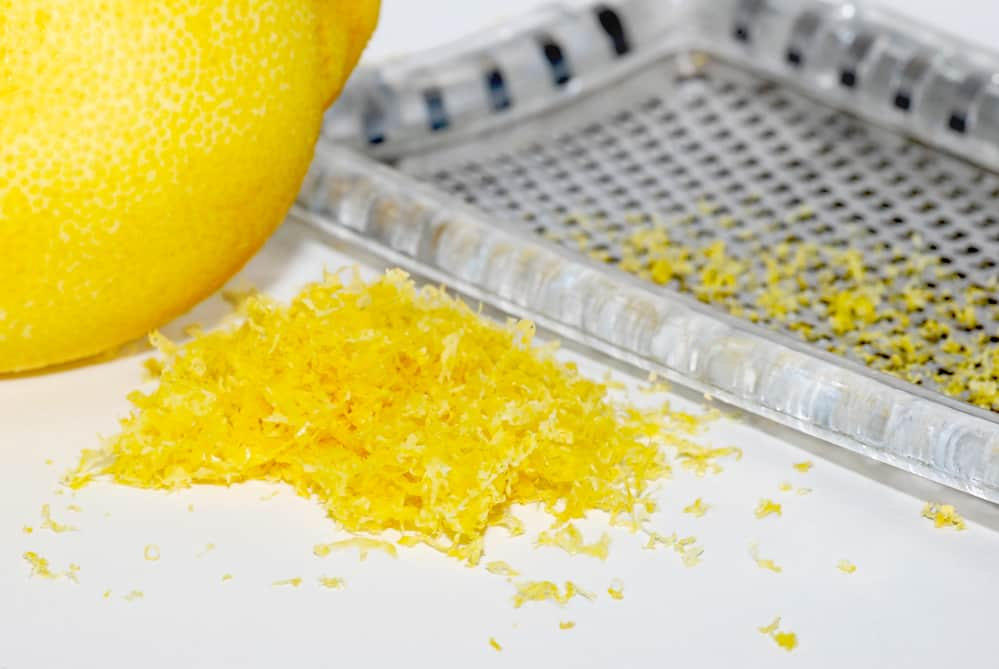 lemon zest next to grater