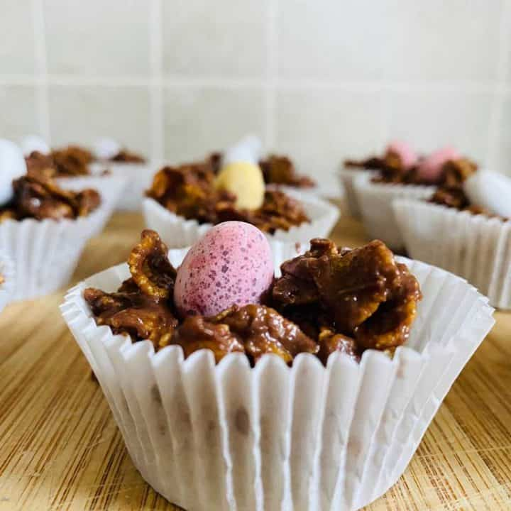 Chocolate Cornflake Cakes with mini eggs on top