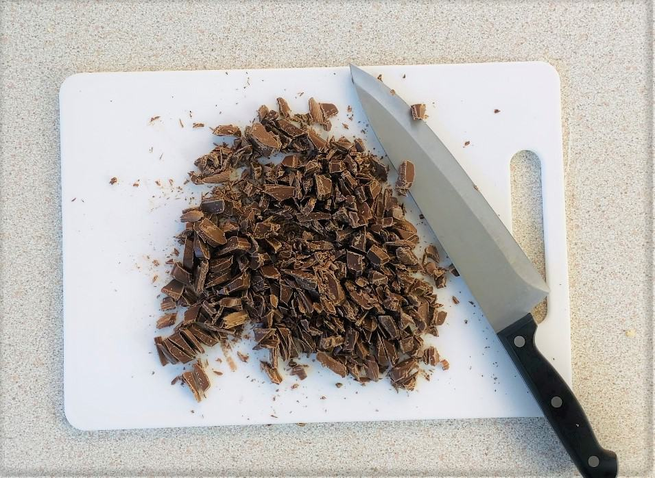 chopped up chocolate