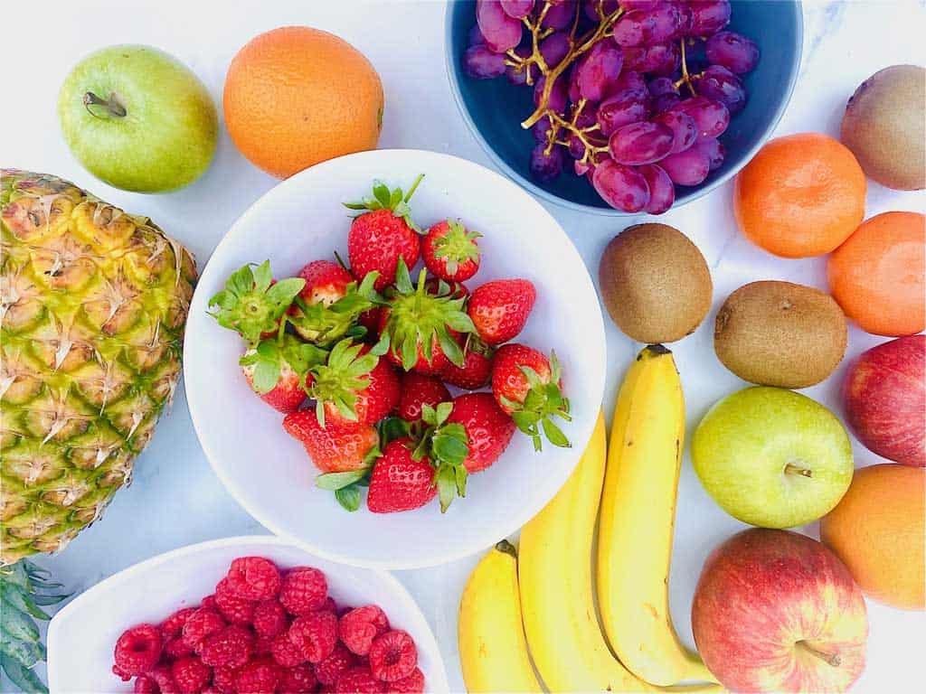 ingredients gathered for fruit salad
