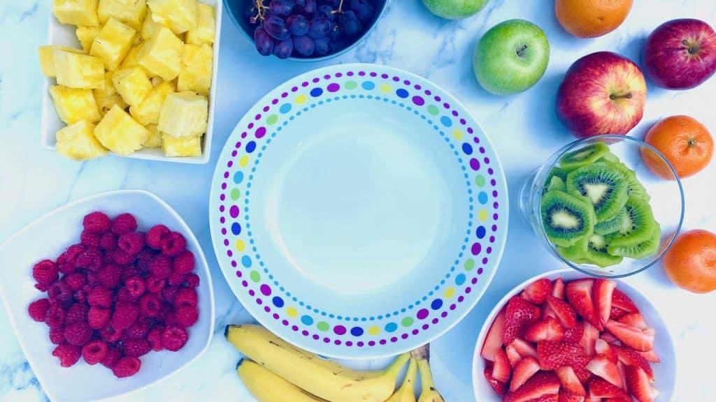 fruit salad next to bowl