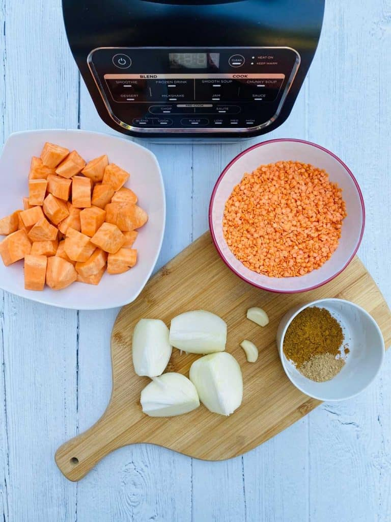 ingredients for sweet potato and lentil soup