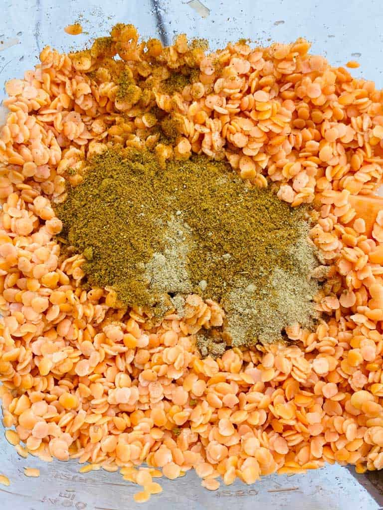 red lentils and curry powder