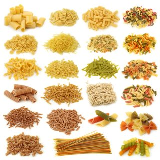 different types of pasta laid out